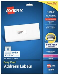 New Box Of 300 Avery 5160 Address Mailing Shipping Labels 1 X 2 5 8 Great Deal