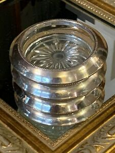 Frank M Whiting Lot Set 4 Sterling Silver Glass 4 Coasters Euc Vintage Fg