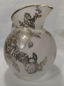 Rare Antique Frosted Glass Pitcher With Silver Overlay Floral Pattern