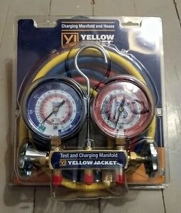 Yellow Jacket 42004 Series 41 Manifold 3 1 8 inch Gauges With Hoses R22 404a
