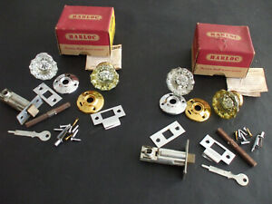 4 Vintage Antique Clear Glass Door Knobs With Hardware Nos