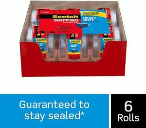6 Rolls Scotch Carton Sealing Mailing Moving Box Shipping Packing Tape Seal