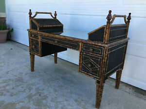 Vintage Burnt Scorched Tortoise Faux Bamboo Wicker Rattan Writing Desk