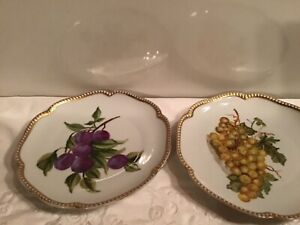Antique1920 S Herman Ohme 2 Plates Art Deco Hand Painted Signed Scalloped Gold