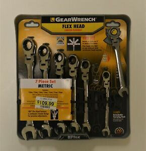 New Gearwrench 7 Piece Flex Head Ratcheting Combination Wrench Set Metric