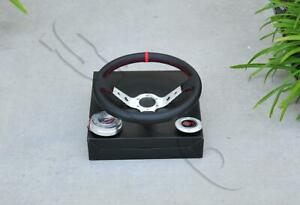 350mm 13 5 Polished Spoke Pvc Leather Deep Dish Steering Wheel Quick Release