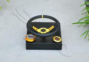 350mm 13 5 Gold Spoke Pvc Leather Deep Dish Steering Wheel Quick Release Kit