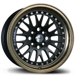 Avid1 Av12 15x8 25 4x100 Black W Bronze Lip Civic Integra Fit Crx Miata Yaris