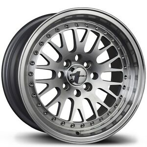 Avid1 Av12 15x8 25 4x100 Silver Civic Integra Fit Crx Miata Yaris Corolla Mr2