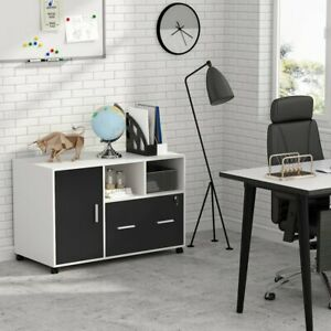 39 Mobile File Cabinet Wooden Side Table Filing Drawers Pedestal Office Storage