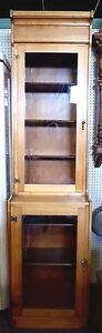 Vintage Tall Narrow Step Back Cupboard Cabinet 92 H X 24 W Adjustable Shelves