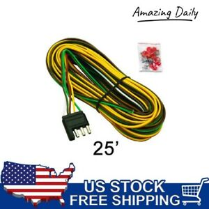 New 25ft 5 Wire Flat Trailer Light Wiring Harness Extension 4 Pole Connectors