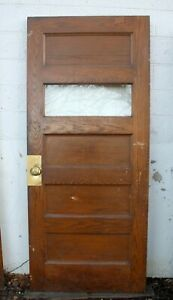 5 Avail 36 X83 X1 75 Antique Vintage Oak Wood Wooden Door Window Glass 5 Panels