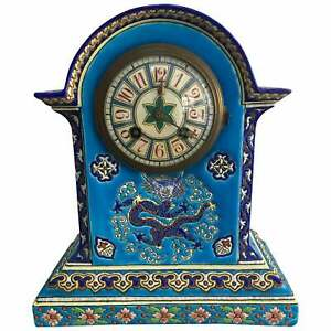 19th Century French Chinoiserie Longwy Gien Enamel Emaux Clock