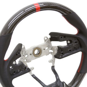 For 16 19 Honda Civic X Steering Wheel Real Carbon Fiber W Leather Sides