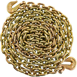 Tow Chain Grade 70 Chain 5 16 x21 With Safety Grab Hooksfor Logging Binder