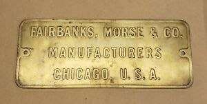 Vintage Fairbanks Morse Co Wwii Brass Ship Or Submarine Engine Plaque Large