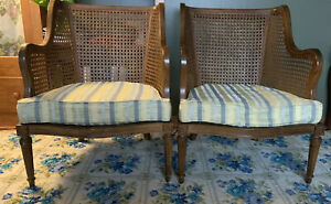 Pair Of Vintage Cane Chairs American Of Martinsville Mcm Oh Pa Wv