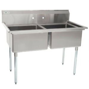 53 2 compartment Restaurant Kitchen Stainless Steel Commercial Pot Prep Sink