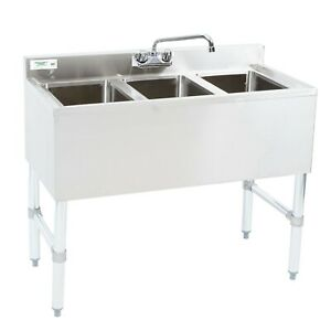 38 1 2 3 compartment Stainless Steel Underbar Sink With Faucet