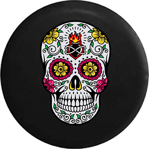 Spare Tire Cover Sugar Skull Pink Green Yellow Heart Jk Accessories