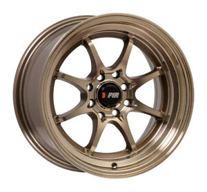 F1r Wheels F03 Rims 15x8 4x100 4x114 3 25 Offset 2 75 Step Lip Machined Bronze