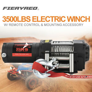 Fieryred 3500lbs Electric Winch Waterproof Atv Ute W Steel Cable Remote Control