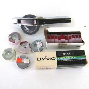 Dymo 1570 Chrome Tapewriter Label Maker Embossing Tool With 23 Rolls Of Tape