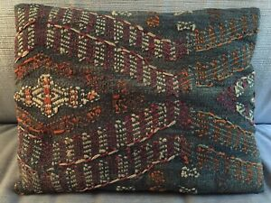Antique Moroccan Rug Pillow Carpet Wool Blue Hand Woven Both Sides Morocco