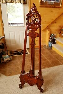Antique Victorian Solid Mahogany Wood Easel Painting Portrait Art Display Stand