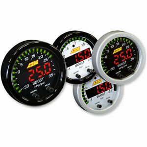 Aem 30 0306 X series Turbo Boost Pressure Display Gauge 35psi White Face Kit