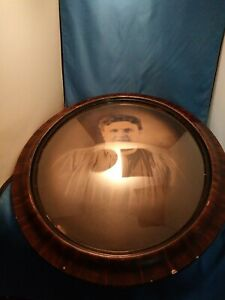 Antique Oval Tiger Wood Picture Frame Bubble Glass 24 X 20 Huge Old Mother Pic