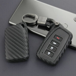 For Lexus Carbon Fiber Scratch Proof Car Key Fob Case Cover Chain Ring Keychain