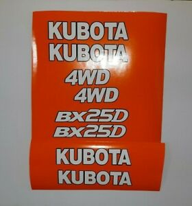 Kubota Bx 25 D Decals Backhoe Tractor Decal Kit White With Black Outline