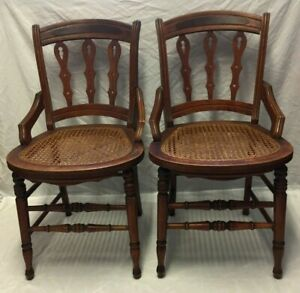 2 Two Antique Carved Wood Cane Seat Side Dinning Rest Accent Chairs Nice