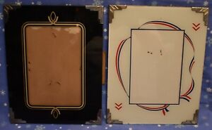 2 Vintage Art Deco Reverse Painted Picture Photo Frames 8x10 Red White