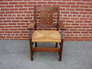 Antique Arts Crafts Mission Oak Arm Chair Stickley Limbert Roycroft Era