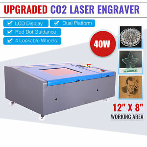 40w Co2 Laser Engraver Engraving Cutting 8x12 Upgraded Lcd Red Dot Pointer