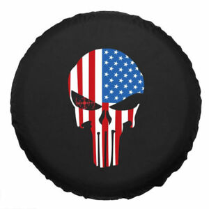 18inch Spare Wheel Tire Cover Skull Flag For Rv Truck Suv Camper Pu Leather