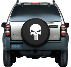 15 18inch Skull Spare Tire Cover Wheel Tire Cover For Truck Suv Pu Leather