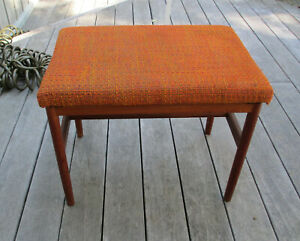 Vintage Mid Century Danish Modern Teak Wood Luggage Rack Piano Bench