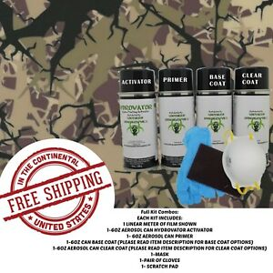 Hydrographic Water Transfer Hydro Dip Full Kit Activator 1m Tree Army Camo Film