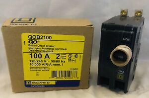 Square D Qob2100 Circuit Breaker 100 Amp 2 Pole 120 240v Bolt On New In Box