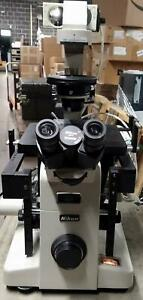 Nikon Diaphot Inverted Fluorescence Phase Contrast Microscope W 3 Objectives