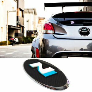 Rear Trunk Emblem Carbon Black 3d N Point Badge For Hyundai 2011 2018 Veloster
