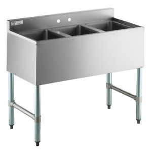38 3 Compartment Bowl Underbar Under Counter Stainless Steel Sink Commercial