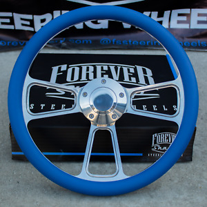 14 Billet Steering Wheel For Chevy Gm Ford Dodge Blue Wrap And Horn Button