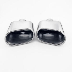 Pair 2 1 8 Inlet Dual Wall Slant Oval Outlet Exhaust Tips 304 Stainless Steel