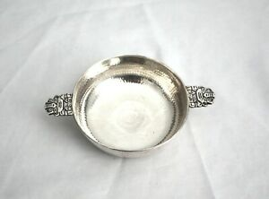 Signed J M 900 Solid Sterling Silver Hammered Handled Small Bowl