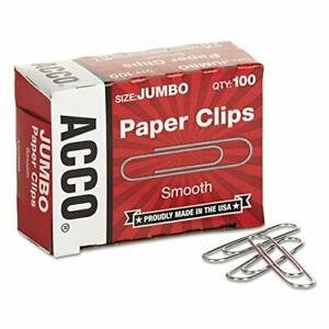 Smooth Standard Paper Clip Jumbo Silver 100 box 10 Boxes pack
